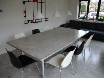 Beton cire meubels beton cire - Eettafel beton wax ...