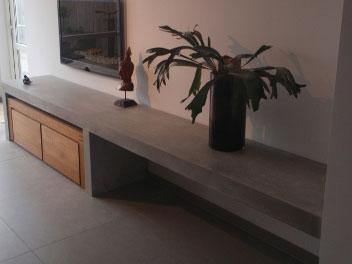 Beton cire meubels beton cire - Plank wandmeubel ...